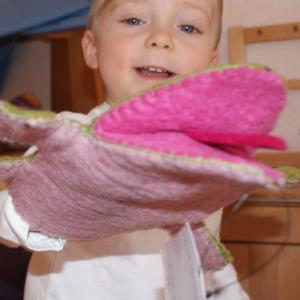 Filz Handpuppe Frosch für Kinder aus dem Waldkindergarten