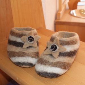 Filz Hausschuhe brauner Stern Gr.22, für alle Kinder, die warme Füße haben möchten