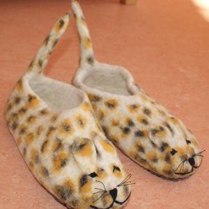Filz Hausschuhe Gepardenmuster Gr.35