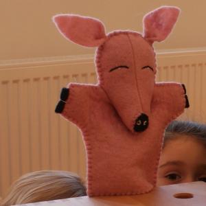 Filz Handpuppe Schwein für Kinder aus dem Waldkindergarten