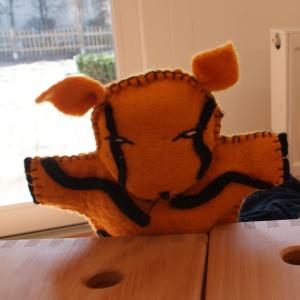 Filz Handpuppe Tiger für Kinder aus dem Waldkindergarten