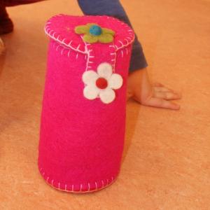 rosa Filz-Mäppchen für Waldkindergarten-Kinder