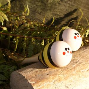 Maracas / Holz-Rasseln Biene für Waldkindergarten-Kinder
