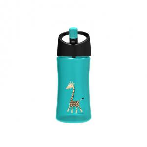 Trinkflasche, türkis mit Griraffen-Applikation