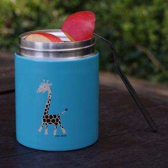 Speisebehälter aus Edelstahl für Kinder türkis, Giraffe als Design