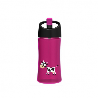 Trinkflasche, lila mit Kuh-Applikation