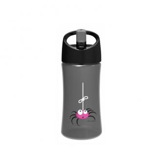 Trinkflasche, grau mit Spinnen-Applikation