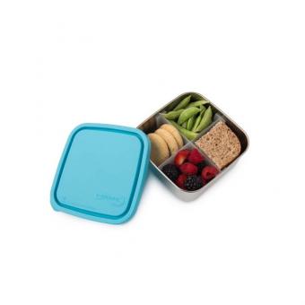 Brotdose aus Edelstahl, 4 Fächer, hellblau
