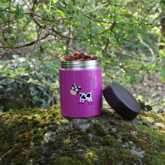 Speisebehälter aus Edelstahl, lila mit Kuhapplikation