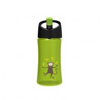 Trinkflasche grün/gelb mit Affe als Applikation