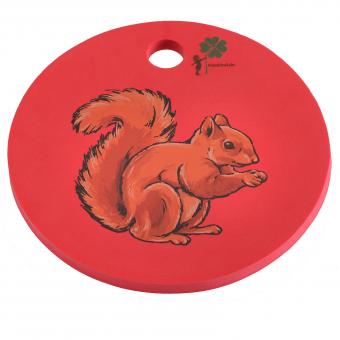 B-WARE Waldkindergarten-Sitzkissen, rot mit Eichhörnchen
