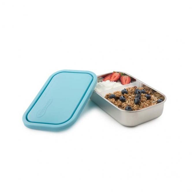Brotdose aus Edelstahl, 2 verschiebbare Fächer, hellblau