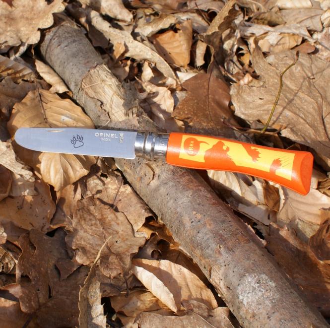 Kinder Schnitzmesser mit Motiv Löwe von Opinel, orange
