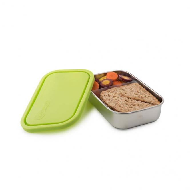 Brotdose aus Edelstahl, 2 Fächer mit verschiebbarem Teiler, grün